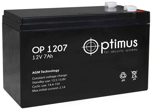 Изображение Аккумулятор OP 1207 Optimus 12V - 7Ач.
