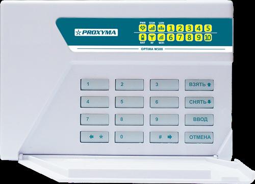 Изображение W500CWL Optima Объектовый прибор в корпусе клавиатуры. (со встроенным li-ion АКБ 3,7В 2500мА/ч) Поддержка работы по каналу  Ethernet и  Wi-Fi встроенный радиоприемник FW2 Crow
